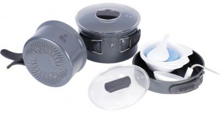Набор посуды Tramp из анодированного алюминия на 2-3 персоны с рифленым дном
