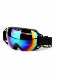Маска для лыж и сноуборда Sposune HX012-1 Glossy Black-Revo Rainbow