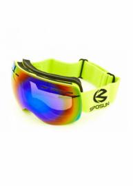 Маска для лыж и сноуборда Sposune HX021-1 Matte Green-Revo Rainbow