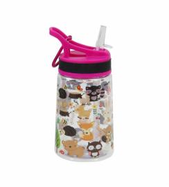 Бутылка для воды Summit Kids Girls c соломинкой и карабином розовая 350 мл
