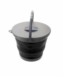 Ведро складное с крышкой Summit Pop Bucket With Lid Black/Grey 5 л
